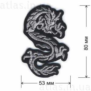 серебряный дракон клеевая нашивка на одежду