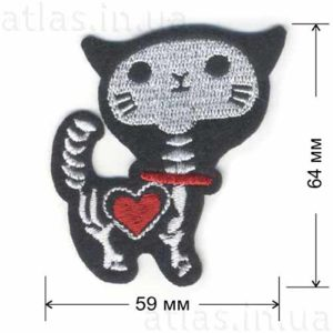 кошка скелет нашивка