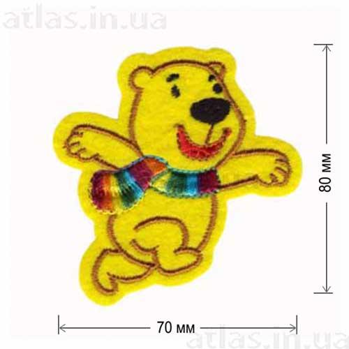 медведь с шарфом нашивка для детей