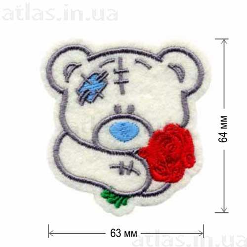 голова медведя с цветком нашивка