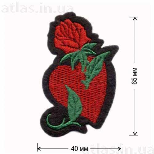 роза и сердце клеевая нашивка