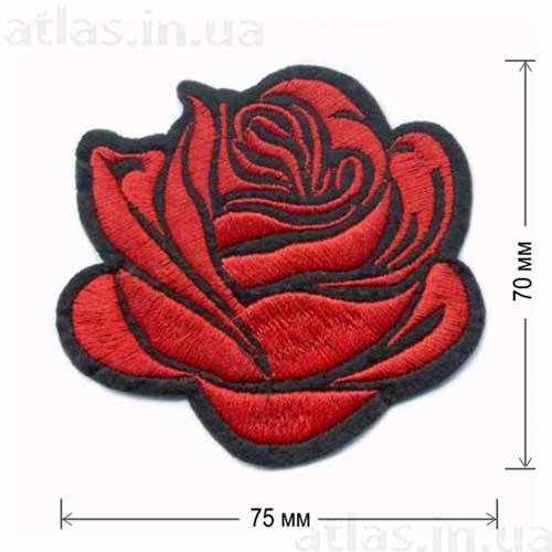 роза красный бутон аппликация на одежде