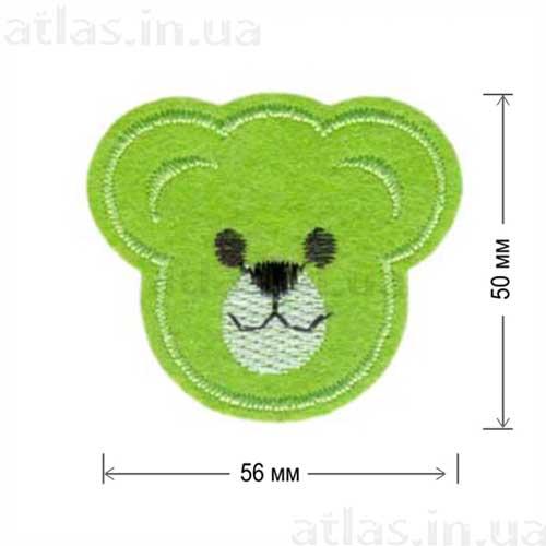 голова медведя зеленая нашивка