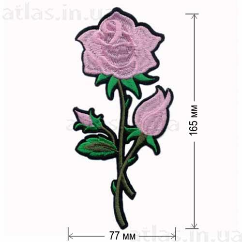 розовая роза аппликация на одежду
