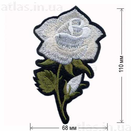 роза белая большой бутон нашивка