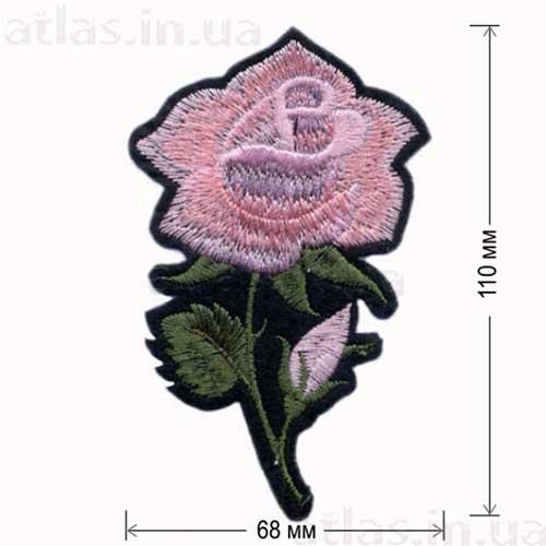 роза розовая большой бутон нашивка