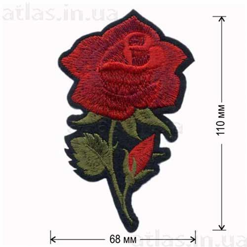 роза красная большой бутон нашивка