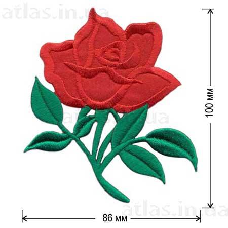 вышитая красная роза на атласе аппликация