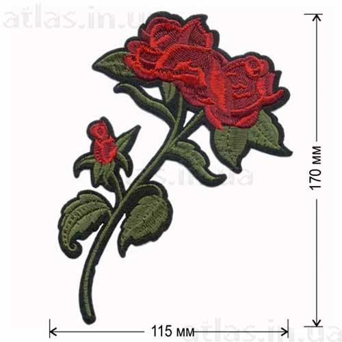 роза красная ветка нашивка