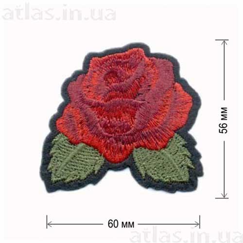 бутон красной розы нашивка