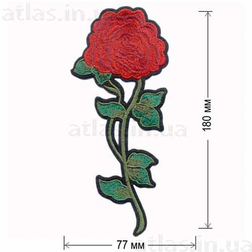 большая роза вышитая нашивка на одежду
