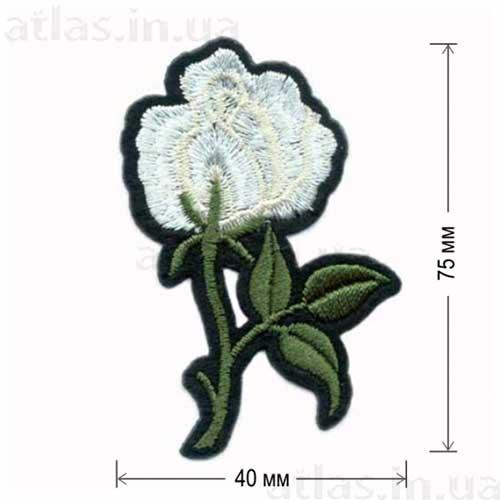 белая роза вышитая нашивка