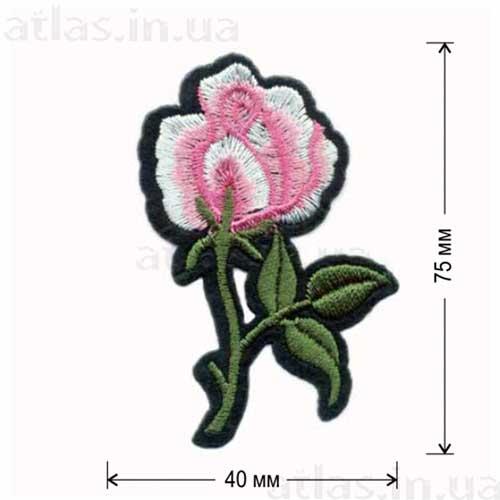 розовая роза нашивка