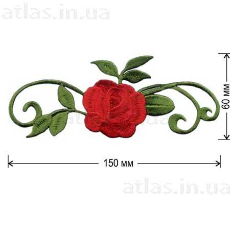 красная роза аппликация на платье