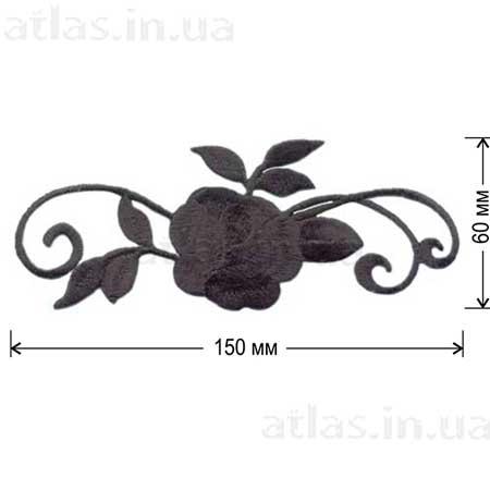 черная роза аппликация на платье