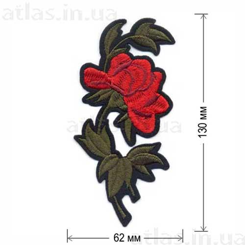 роза красная вышитая нашивка