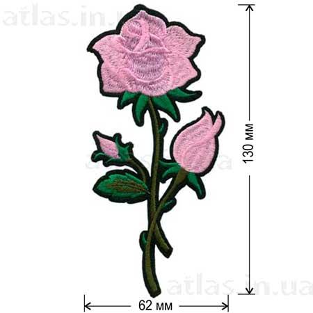 розовая роза нашивка на платье