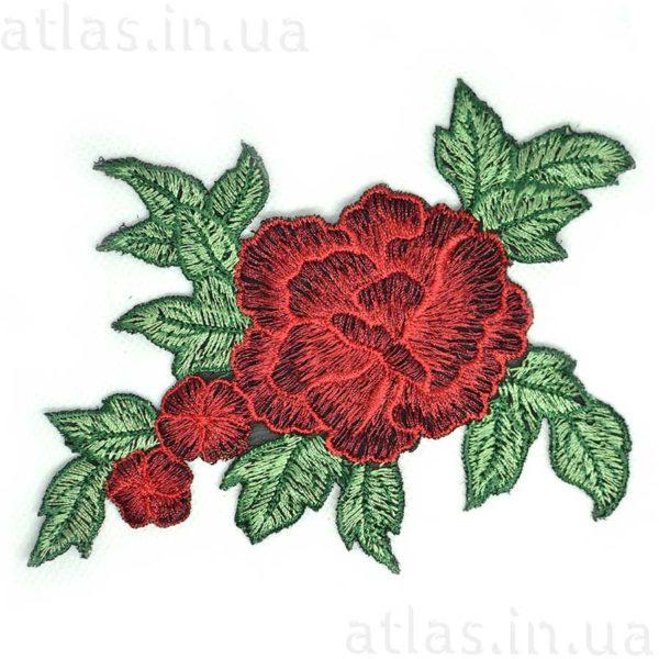 аппликация красная роза три бутона