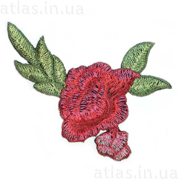аппликация на сетке красная роза два бутона