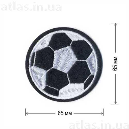 futball клеевая нашивка футбольный мяч черная 65х65 мм