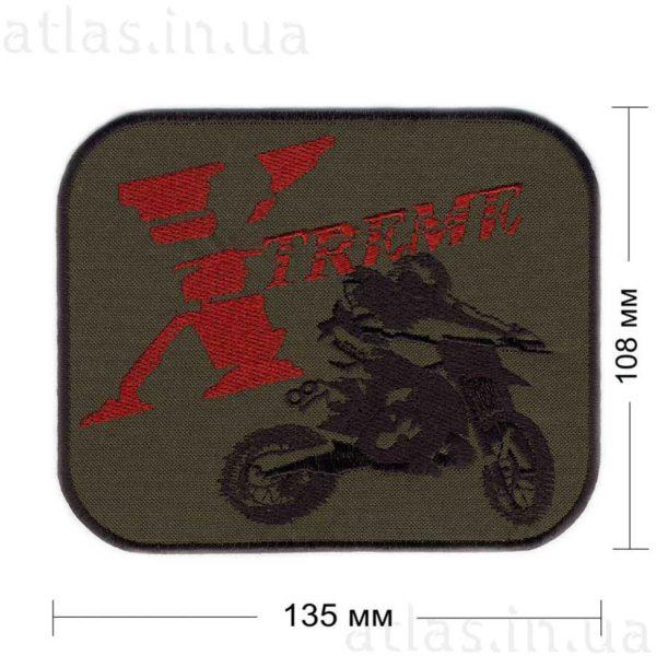 xtreme-1-motorbike нашивка хаки с черной и красной нитью 130х108 мм