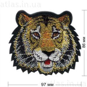 тигр нашивка на черном 86х97 мм