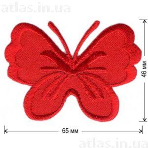 красная бабочка на атласе нашивка 65х46 мм