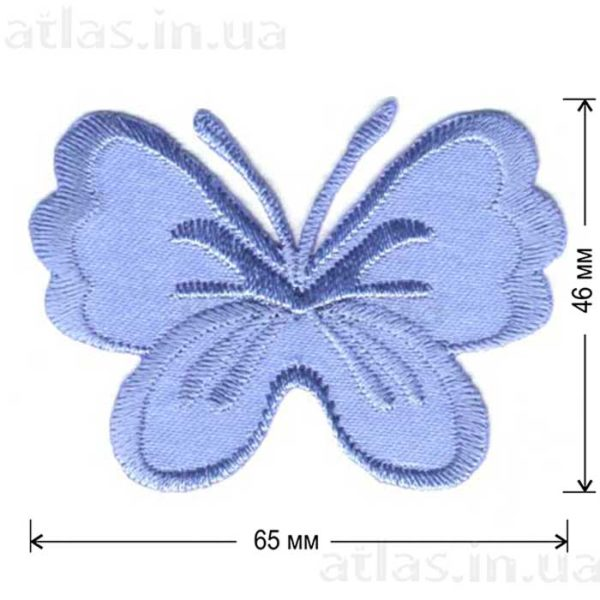голубая бабочка на атласе нашивка 65х46 мм