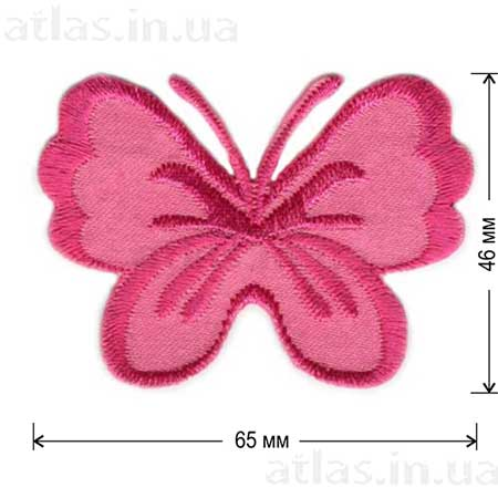 розовая бабочка на атласе нашивка 65x46 мм