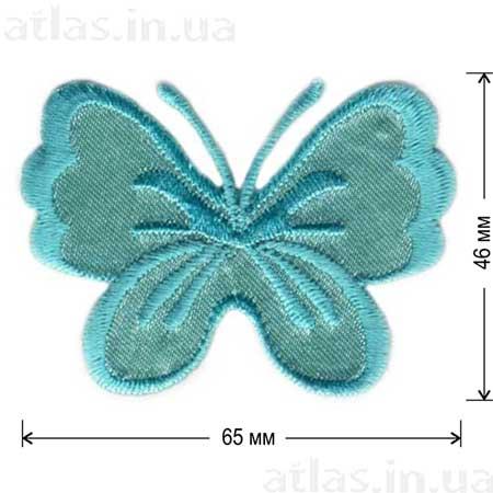 светло-зеленая бабочка на атласе нашивка 65x46 мм