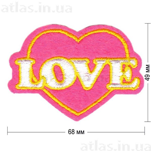 love нашивка ярко-розовая 68х49 мм