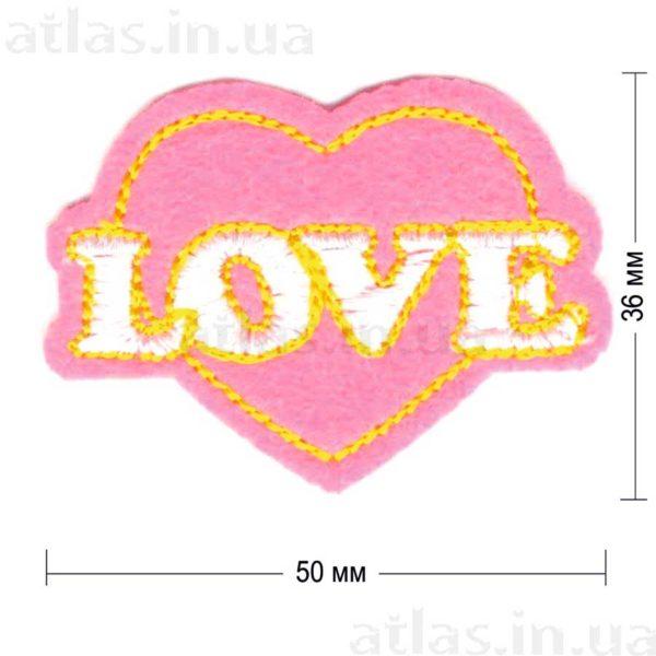 love нашивка ярко-розовая 50х36 мм