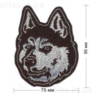 волк нашивка коричневая 75х95 мм