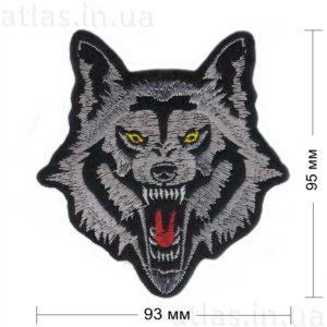 злой волк нашивка черная 93x95 мм