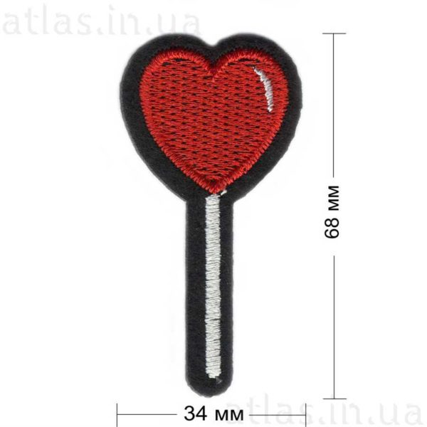 леденец-сердечко на палочке нашивка
