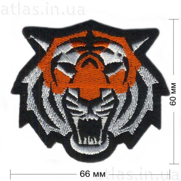 тигр нашивка черная 66х60 мм