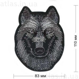 голова волка на фетре нашивка 82x120 мм