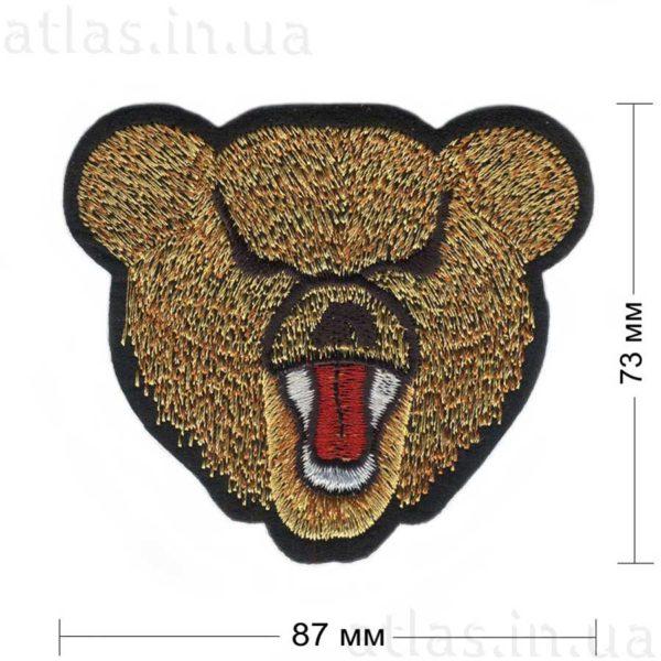 злой медведь нашивка черная 87х73 мм