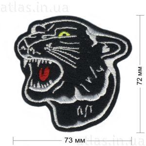 нашивка голова пантеры черная 73х72 мм