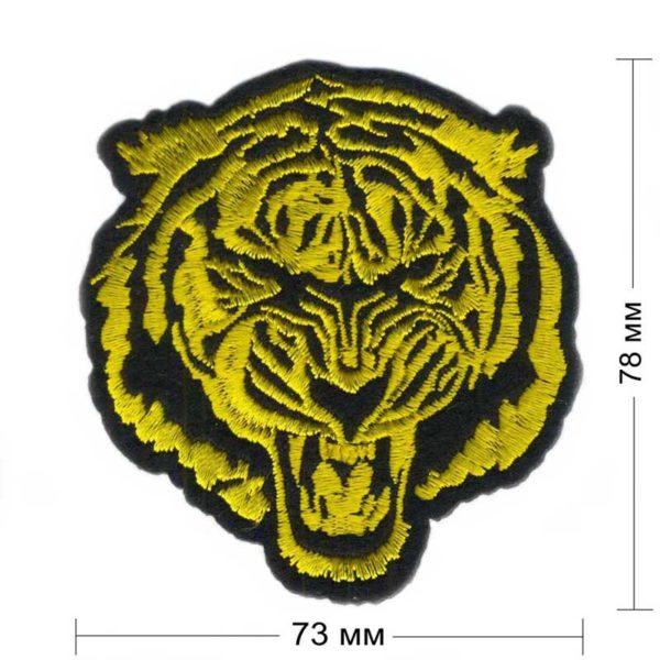 нашивка тигр черный фон желтая нить 73х78 мм