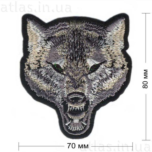 морда волка нашивка черная 70х80 мм