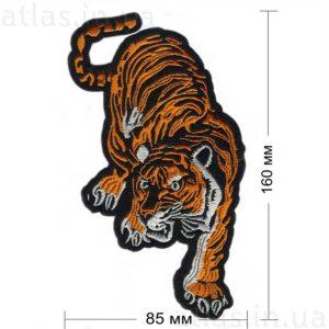 крадущийся тигр нашивка на черном фоне 85х160 мм