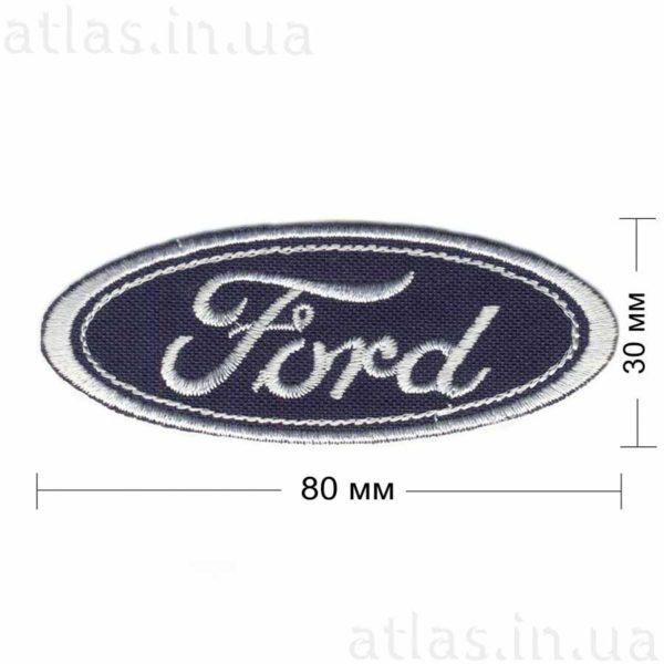 ford нашивка темно-синяя белой нитью 80х30 мм