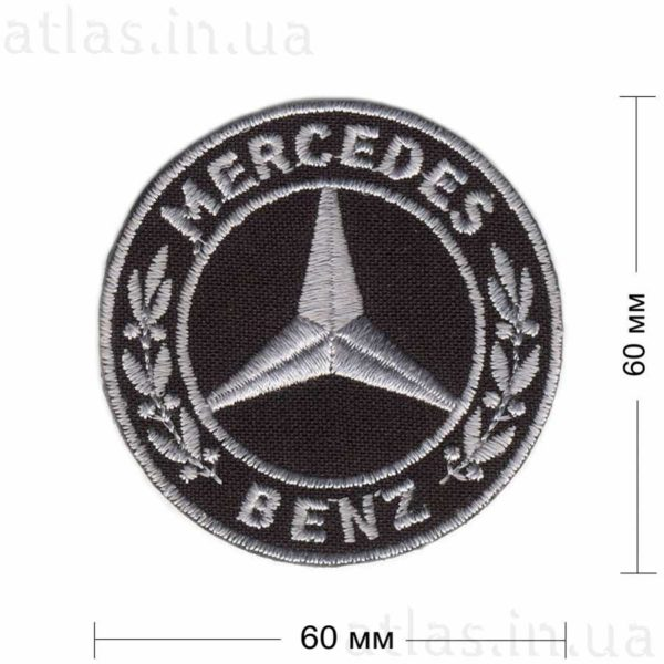 mercedes нашивка черная 60х60 мм