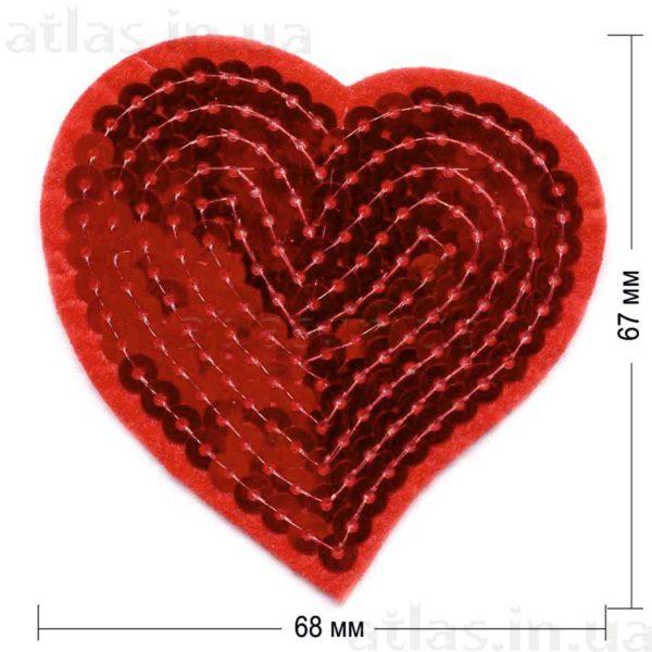 красное сердце пайетка