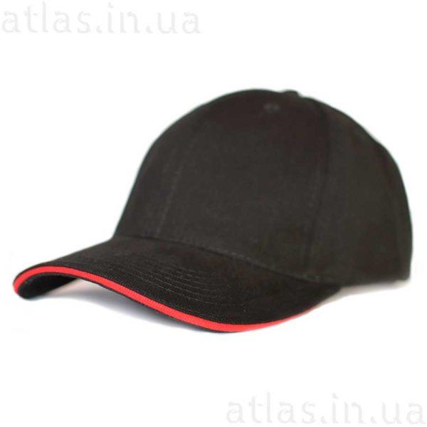 черная бейсболка к красным кантом