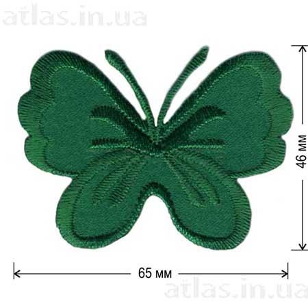 зеленая бабочка на атласе нашивка 65x46 мм