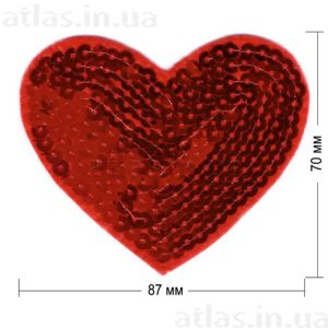 сердце пайетка нашивка красная 87х70 мм