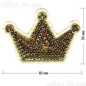 корона паейтки нашивка золотая на белом фоне 80х54 мм
