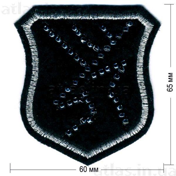олень бисер нашивка черная 60х65 мм